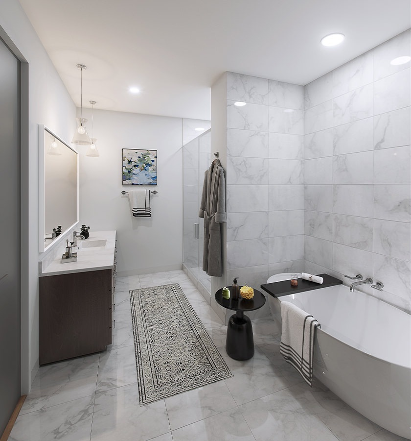 Penthouse Bathroom with full bath and stand-up shower
