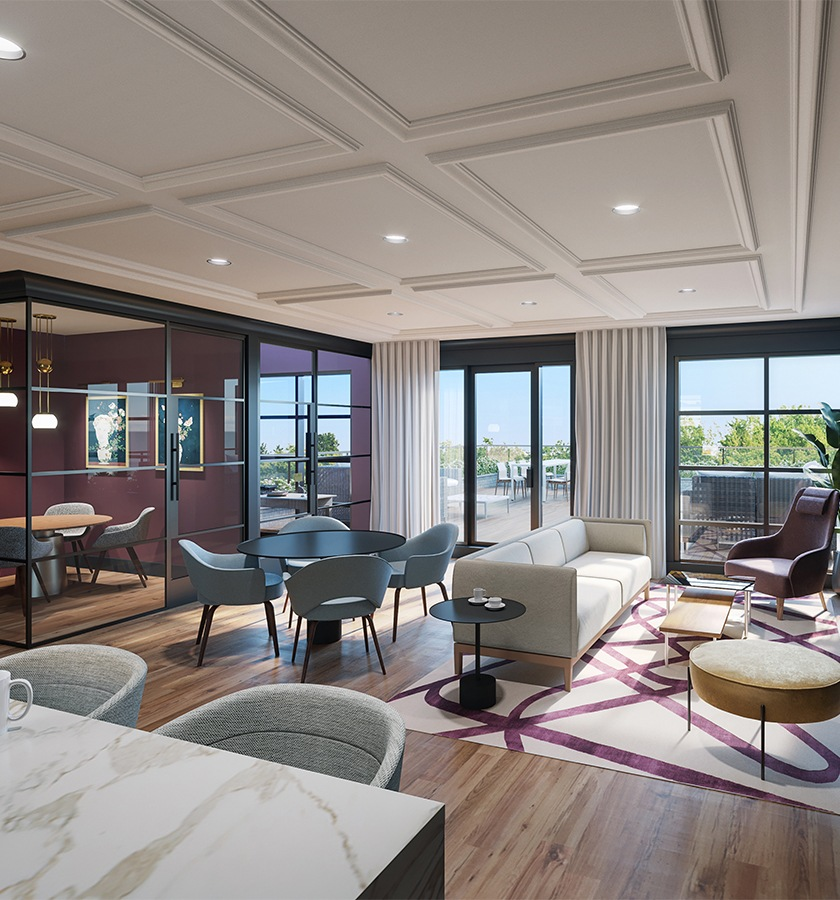 Clubhouse with lounge seating